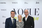 Andre Pollmann, Editor-In-Chief Vogue Germany Christiane Arp and Ingo Wilts (HugoBoss) attend the Vogue party on July 05, 2019 in Berlin, Germany.