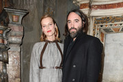Eva Herzigova and Ferdinando Verderi attend the Vogue Yoox Challenge - The Future of Responsible Fashion Dinner event at S. Paolo Converso on February 22, 2020 in Milan, Italy.