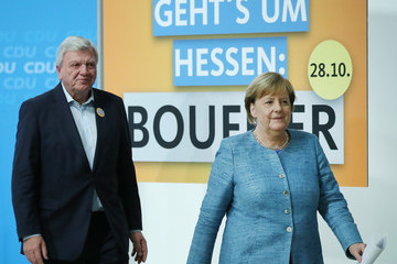 Volker Bouffier Merkel And Bouffier Give Statements Following CDU Meeting