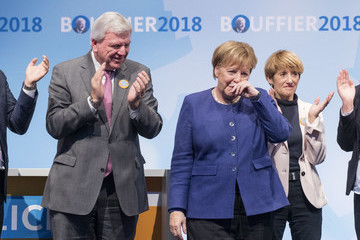 Volker Bouffier Angela Merkel Campaigns For CDU In Hesse State Elections In Dieburg