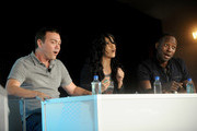 (L-R) Actor Joe Lo Truglio, actress Stephanie Beatriz and actor Lamorme Morris speak onstage during Vulture Festival presented by New York Magazine at Milk Studios on May 11, 2014 in New York City.