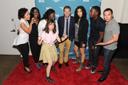 (L-R) Actresses Selenis Leyva, Uzo Aduba, Yael Stone, Danielle Brooks, Television Personality Dave Holmes, Actress Stephanie Beatriz, Actor Lamorme Morris and Actor Joe Lo Truglio attend Vulture Festival presented by New York Magazine at Milk Studios on May 11, 2014 in New York City.