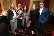 (L-R) Actors Annie Murphy, Dan Levy, Emily Hampshire, Catherine O'Hara and Eugene Levy attend the 'Schitt's Creek' panel, part of Vulture Festival LA presented by AT&T at Hollywood Roosevelt Hotel on November 19, 2017 in Hollywood, California.
