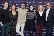 Noah Reid, Annie Murphy, Daniel Levy, Emily Hampshire, Catherine O'Hara, and Eugene Levy attend the Vulture Festival Los Angeles 2018 at The Hollywood Roosevelt Hotel on November 17, 2018 in Los Angeles, California.