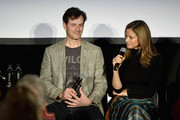 Tom Everett Scott (L) and Andrea Savage speak onstage during 'truTV Presents I'm Sorry' during Vulture Festival Presented By AT&T at Hollywood Roosevelt Hotel on November 18, 2018 in Hollywood, California.