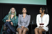 (L-R) Dascha Polanco, Susan Kelechi Watson and Candice Patton speak onstage Vulture Festival Presented By AT&T at The Roosevelt Hotel on November 09, 2019 in Hollywood, California.