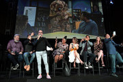(L-R) Dan Harmon, Joel McHale, Jim Rash, Yvette Nicole Brown, Alison Brie, Danny Pudi, Gillian Jacobs and Ken Jeong speak onstage during Vulture Festival Presented By AT&T at The Roosevelt Hotel on November 10, 2019 in Hollywood, California.