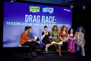 (L-R) Matt Rogers, Bowen Yang, Michelle Visage, Bebe Zahara Benet, Jinkx, Yuhua and Kalorie appear onstage at Vulture Festival Presented By AT&T:  at Milk Studios on May 19, 2018 in New York City.