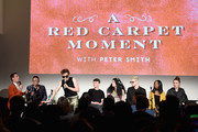 (L-R) Matt Rogers, Bowen Yang, Peter Smith, Pat Regan, Annie Donley, Dave Mizzoni, Sydnee Washington and Mo Fry Pasic speak onstage at Vulture Festival presented by AT&T: Las Culturistas Live! at Milk Studios on May 19, 2018 in New York City.