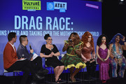 (L-R) Matt Rogers, Bowen Yang, Michelle Visage, Bebe Zahara Benet, Jinkx, Yuhua and Kalorie appear onstage at Vulture Festival Presented By AT&T: Drag Race: Ten Seasons Later and Taking over the Mother Tucking World at Milk Studios on May 19, 2018 in New York City.