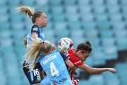 Emily Sonnett and Elizabeth Ralston of Sydney FC compete for the ball with Jodie Taylor of Melbourne City during the W-League Grand Final match betweenSydney FC and Melbourne City FC at Allianz Stadium on February 18, 2018 in Sydney, Australia.