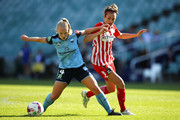 Elizabeth Ralston of Sydney FC. and Jodie Taylor of Melbourne City compete for the ball during the W-League Grand Final match betweenSydney FC and Melbourne City FC at Allianz Stadium on February 18, 2018 in Sydney, Australia.