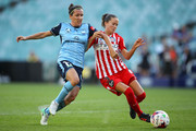 Lisa De Vanna of Sydney FC and Lauren Barnes of Melbourne City compete for the ball during the W-League Grand Final match betweenSydney FC and Melbourne City FC at Allianz Stadium on February 18, 2018 in Sydney, Australia.