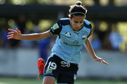 Leena Khamis of Sydney and Jada Mathyssen-Whyman of the Wanderers during the round 14 W-League match between Sydney FC and the Western Sydney Wanderers at Seymour Shaw on February 4, 2018 in Sydney, Australia.