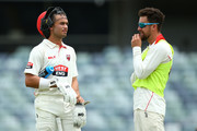 Jake Weatherald of South Australia talks with Alex Ross at a break in play during day four of the Sheffield Shield match between Western Australia and South Australia at WACA on November 16, 2017 in Perth, Australia.