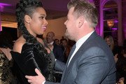 "(L-R) Jennifer Hudson and James Corden attend WCRF's ""An Unforgettable Evening"" Presented by Saks Fifth Avenue on February 27, 2018 in Beverly Hills, California."