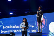 Monique Coleman and Jada Warren-Fitts speak onstage during WE Day UN 2019 at Barclays Center on September 25, 2019 in New York City.