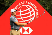 Francesco Molinari of Italy plays his shot from the 16th tee during the first round of the WGC - HSBC Champions at Sheshan International Golf Club on October 25, 2018 in Shanghai, China.