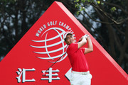 Liang Wenchong of China plays his shot from the third tee during the third round of the WGC - HSBC Champions at Sheshan International Golf Club on October 28, 2017 in Shanghai, China.