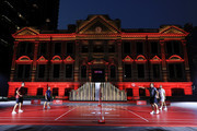 (L-R) Justin Rose of England, Francesco Molinari of Italy, Brooks Koepka of the United States and Dustin Johnson of the United States play badminton during a photocall prior to the WGC - HSBC Champtions at the Chamber of Commerce Shanghai on October 23, 2018 in Shanghai, China.