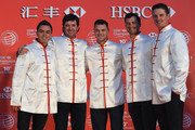 Rickie Fowler and Bubba Watson of the United States, Martin Kaymer of Germany, Adam Scott of Australia and Justin Rose of England at the Peninsula Hotel prior to the start of the WGC - HSBC Champions on November 4, 2014 in Shanghai, China.