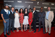 """(L-R) Cast members Christopher Backus, PJ Marshall, Amirah Vann, Jurnee Smollett-Bell, Jessica de Gouw, Adina Porter, Alano Miller, Aldis Hodge and Christopher Meloni attend WGN America's """"Underground"""" For Your Consideration Emmy Event on April 17, 2016 in Beverly Hills, California."""