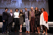"Moderator and curator of Schomburg Moving Image and Recorded Sound Division Shola Lynch, Creators and Executive producers Joe Pokaski and Misha Green, actor Jurnee Smollett-Bell and actor Alano Miller, Scholar and Professor of History at Dewitt Clinton Eric Foner, DR. Sylviane A. Diouf and Olivia Scott-Perkins pose for a photo at WGN America Presents the New York Screening Of ""Underground"" at the Schomburg Center on March 8, 2016 in New York City."