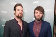 Seth Gabel (R) and Shane West attend WGN America Presents 'Salem' At The 2014 Winter TCA's at The Langham Huntington Hotel and Spa on January 12, 2014 in Pasadena, California.