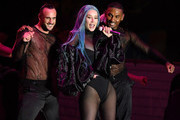 Rapper Iggy Azalea (C) performs with dancers during the WNBA All-Star Game 2019 beach concert at the Mandalay Bay Beach at Mandalay Bay Resort and Casino on July 26, 2019 in Las Vegas, Nevada.