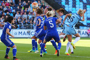 Jill Scott of Manchester City Women (2R) scores their first goal with a header during the WSL 1 match between Manchester City Women and Chelsea Ladies FC at Academy Stadium on September 25, 2016 in Manchester, England.