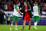 Seamus Coleman of Ireland and Gareth Bale of Wales shake hands after the UEFA Nations League B group four match between Wales and Ireland at Cardiff City Stadium on September 6, 2018 in Cardiff, United Kingdom.