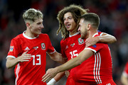 Aaron Ramsey of Wales celebrates with teammates after scoring his team's third goal during the UEFA Nations League B group four match between Wales and Ireland at Cardiff City Stadium on September 6, 2018 in Cardiff, United Kingdom.