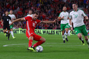 Aaron Ramsey of Wales scores his team's third goal during the UEFA Nations League B group four match between Wales and Ireland at Cardiff City Stadium on September 6, 2018 in Cardiff, United Kingdom.