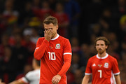Aaron Ramsey of Wales looks dejected during the International Friendly match between Wales and Spain on October 11, 2018 in Cardiff, United Kingdom.