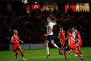 Jill Scott of England scores the second goal during the Women's World Cup qualifier between Wales Women and England Women at Rodney Parade on August 31, 2018 in Newport, Wales.