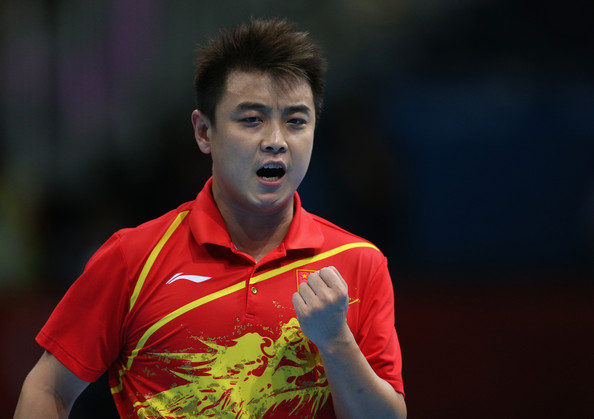 Wang Hao Wang Hao of China celebrates during his Men's Singles Table Tennis Quarter Final match against Seiya Kishikawa of Japan on Day 5 of the London 2012 Olympic Games at ExCeL on August 1, 2012 in London, England.