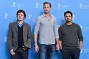 Producer Chris Clark and Actors Alexander Skarsgard and Michael Pena attend  the 'War On Everyone' photo call during the 66th Berlinale International Film Festival Berlin at Grand Hyatt Hotel on February 12, 2016 in Berlin, Germany.