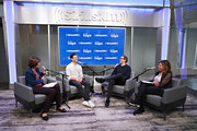 Warby Parker Co-Founders and Co-CEOs Dave Gilboa and Neil Blumenthal sit down with Pattie Sellers (L) and Nina Easton (R) for SiriusXM's 'Making A Leader' Series at the SiriusXM Studios on April 22, 2019 in New York City.