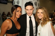 "In this handout photo provided by Warner Bros, Jada Pinkett Smith, Robin Lord Taylor, and Erin Richards of ""Gotham"" attend Comic-Con International 2014  on July 26, 2014  in San Diego, California."