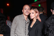 (L-R) Evan Ross and Ashlee Simpson attend the Warner Music Group Pre-Grammy Party at Hollywood Athletic Club on January 23, 2020 in Hollywood, California.