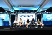 (L-R) Graeme Manson, Mickey Sumner, Jennifer Connelly, Daveed Diggs and Alison Wright of 'Snowpiercer' appear onstage during the TNT segment of the 2020 Winter Television Critics Association Press Tour at The Langham Huntington, Pasadena on January 15, 2020 in Pasadena, California. 697450