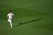 Chris Wright of Warwickshire runs into bowl during the Specsavers County Championship Division Two match between Warwickshire and Durham at Edgbaston on September 5, 2018 in Birmingham, England.