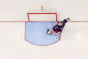 Sergei Bobrovsky #72 of the Columbus Blue Jackets makes a save against the Washington Capitals in Game Three of the Eastern Conference First Round during the 2018 NHL Stanley Cup Playoffs on April 17, 2018 at Nationwide Arena in Columbus, Ohio. Washington defeated Columbus 3-2 in double overtime. (Photo by Kirk Irwin/Getty Images) *** Local Caption *** Sergei Bobrovsky