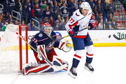 T.J. Oshie #77 of the Washington Capitals attempts to screen goalie Sergei Bobrovsky #72 of the Columbus Blue Jackets from a shot during the third period in Game Four of the Eastern Conference First Round during the 2018 NHL Stanley Cup Playoffs on April 19, 2018 at Nationwide Arena in Columbus, Ohio. Washington defeated Columbus 4-1.