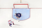 Sergei Bobrovsky #72 of the Columbus Blue Jackets stops a shot from Evgeny Kuznetsov #92 of the Washington Capitals in Game Three of the Eastern Conference First Round during the 2018 NHL Stanley Cup Playoffs on April 17, 2018 at Nationwide Arena in Columbus, Ohio. Washington defeated Columbus 3-2 in double overtime. (Photo by Kirk Irwin/Getty Images) *** Local Caption *** Sergei Bobrovsky;Evgeny Kuznetsov