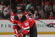 Marcus Johansson #90 of the New Jersey Devils skates against the Washington Capitals at the Prudential Center on October 11, 2018 in Newark, New Jersey. The Devils defeated the Capitals 6-0.