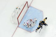 Braden Holtby #70 of the Washington Capitals stops a shot from Patric Hornqvist #72 of the Pittsburgh Penguins during the first period in Game Four of the Eastern Conference Second Round during the 2018 NHL Stanley Cup Playoffs at PPG PAINTS Arena on May 3, 2018 in Pittsburgh, Pennsylvania. Pittsburgh defeated Washington 3-1.