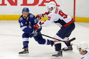 Ryan Callahan #24 of the Tampa Bay Lightning shoots past the check of Evgeny Kuznetsov #92 of the Washington Capitals during the first period in Game Two of the Eastern Conference Finals during the 2018 NHL Stanley Cup Playoffs at Amalie Arena on May 13, 2018 in Tampa, Florida.