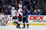 Evgeny Kuznetsov #92 of the Washington Capitals argues with Ryan Callahan #24 of the Tampa Bay Lightning during the first period in Game Two of the Eastern Conference Finals during the 2018 NHL Stanley Cup Playoffs at Amalie Arena on May 13, 2018 in Tampa, Florida.