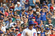 Anthony Rizzo #44 of the Chicago Cubs stands at first base after collecting the 1,000th hit of his career, a single in the 3rd inning, against the Washington Nationals at Wrigley Field on August 11, 2018 in Chicago, Illinois.